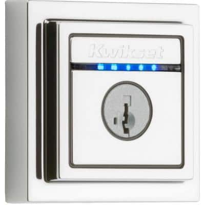 Kevo 2nd Gen Contemporary Square Polished Chrome Single Cylinder Touch-to-Open Bluetooth Smart Lock Deadbolt