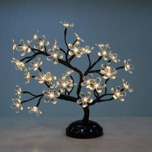 1.5 ft. 3-Watt Crystal Clear Flower Bonsai Artificial Christmas Tree with 36 Warm White LED Lights