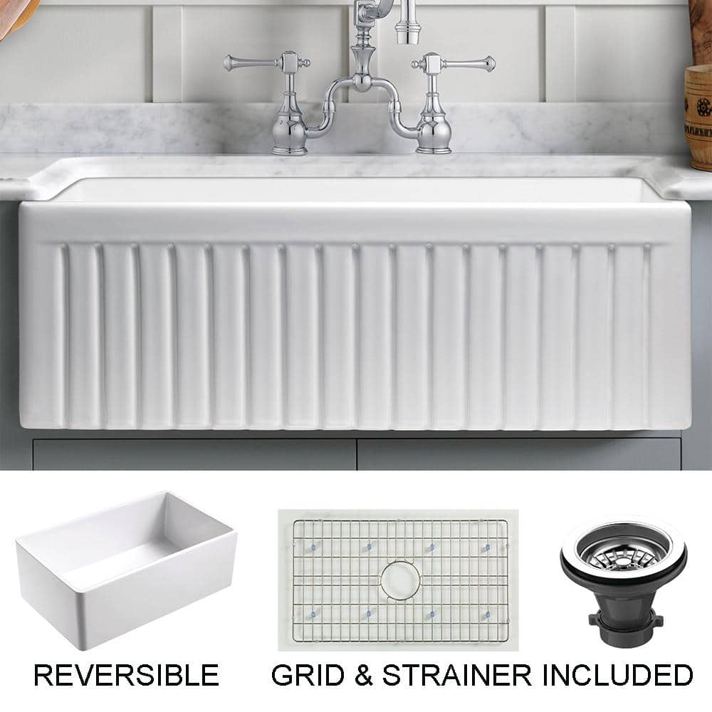 empire industries sutton place farmhouse fireclay 27 in single bowl kitchen sink with grid with grid and strainer sp27g the home depot