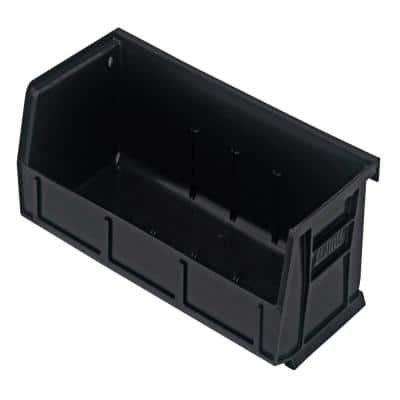 3 Qt. Ultra-Series Stack and Hang Recycled Storage Tote in Black (8-Pack)