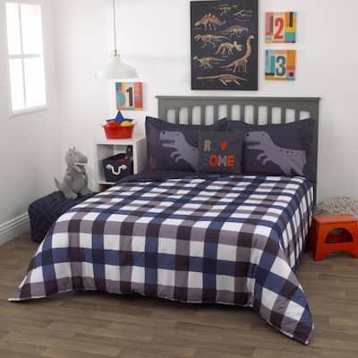 3-Piece Roarsome Grey and Navy Full Bedding Set - 1 Full Comforter, 2 Pillow Shams
