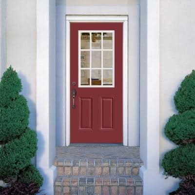 36 in. x 80 in. 9 Lite Red Bluff Right-Hand Inswing Painted Smooth Fiberglass Prehung Front Exterior Door, Vinyl Frame