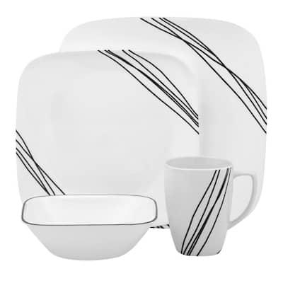 Square 16-Piece Contemporary Black Diagonal Lines Glass Dinnerware Set (Service for 4)