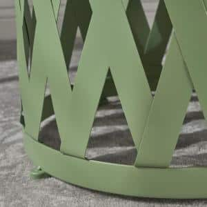 Selen Matte Green Round Metal Outdoor Side Table