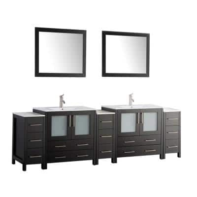 Brescia 96 in. W x 18 in. D x 36 in. H Bath Vanity in Espresso with Vanity Top in White with White Basin and Mirror