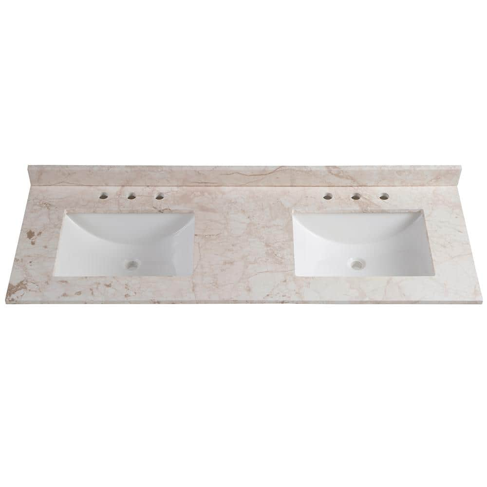 Home Decorators Collection 61 In W X 22 In D Stone Effects Double Vanity Top In Dune With White Sinks Se6122r Dn The Home Depot