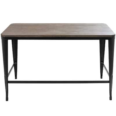 48 in. Rectangular Black/Espresso Writing Desk with Open Storage
