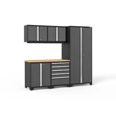Pro Series 6-Piece 18-Gauge Steel Garage Storage System in Charcoal Gray (92 in. W x 85 in. H x 24 in. D)