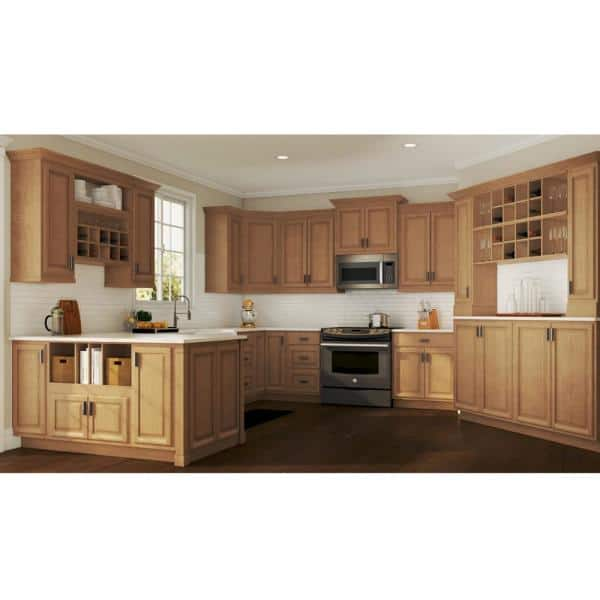 Hampton Bay Hampton Partially Assembled 36 X 34 5 X 24 In Corner Sink Base Kitchen Cabinet In Medium Oak Kcsb36 Mo The Home Depot
