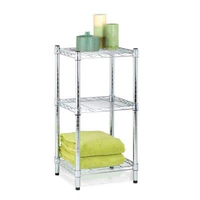 Chrome 3-Tier Metal Wire Shelving Unit (15 in. W x 30 in. H x 14 in. D)