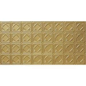 Dimensions 2 ft. x 4 ft. Glue Up Tin Ceiling Tile in Metallic Brass
