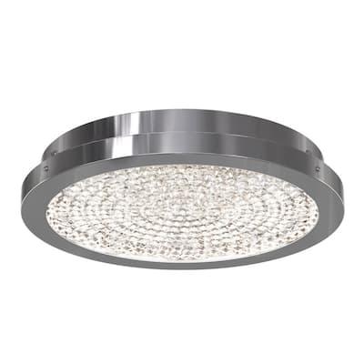Glam 13.5 in. 1-Light Chrome Integrated LED Flush Mount