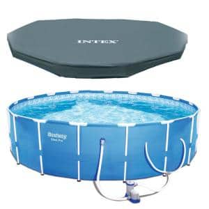 12 ft. x 30 in. D Steel Pro Round Above Ground Pool with Steel Metal Frame