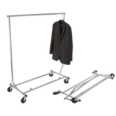 Chrome Heavy Duty Steel Metal Adjustable and Collapsible Rolling Clothes Rack with Wheels (48 in. W x 65 in. H)