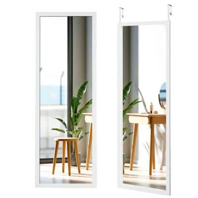 47.5 in. x 14.5 in. Rectangle Frame White Wall Mounted Full Length Mirror
