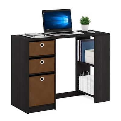 40 in. Rectangular Espresso 3 Drawer Computer Desk with Built-In Storage