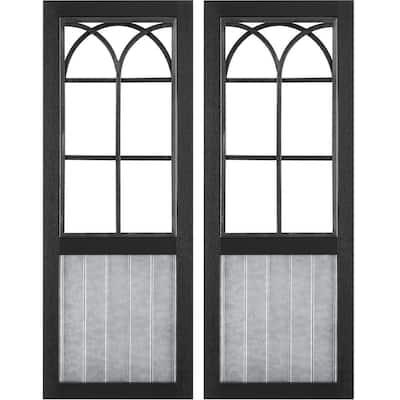 12 in. x 1 in. x 31.5 in. Metal Black Willow Farmhouse Window Wall Plaque 2-Piece Set
