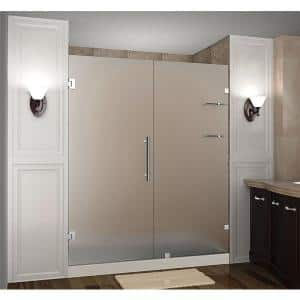Aston Nautis Gs 71 In X 72 In Frameless Hinged Shower Door With Frosted Glass And Glass Shelves In Stainless Steel Sdr990f Ss 71 10 The Home Depot