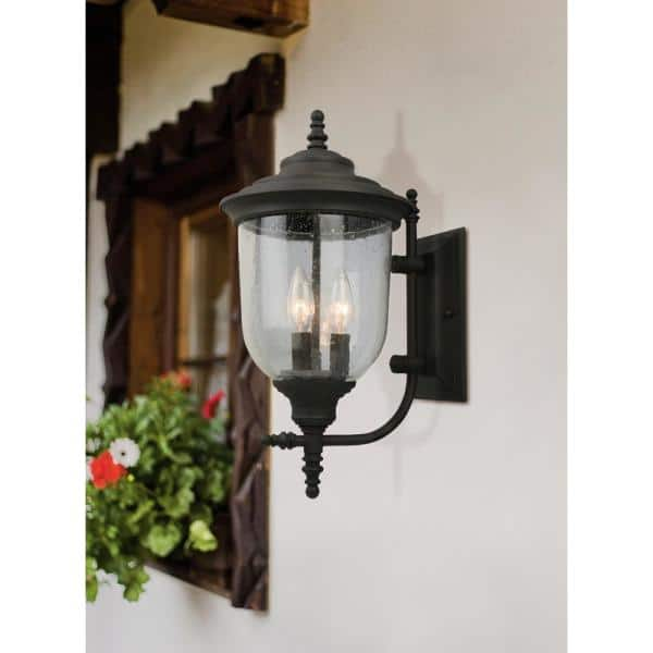 Eglo Pinedale 12 87 In W X 22 36 In H 3 Light Matte Black Outdoor Wall Lantern Sconce With Clear Seeded Glass 202801a The Home Depot
