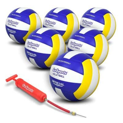 Indoor Competition Volleyball with Pump and Bag, Regulation Size (6-Pack)