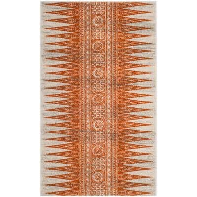 Evoke Ivory/Orange 3 ft. x 5 ft. Area Rug