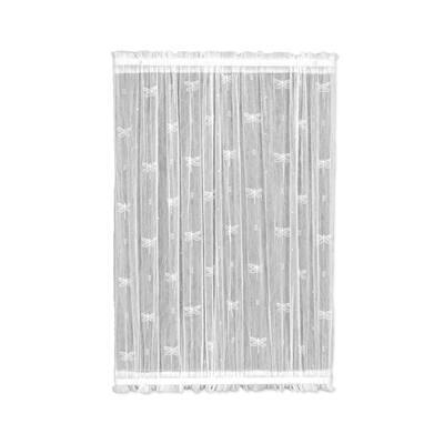 White Distressed Rod Pocket Room Darkening Door Curtain - 45 in. W x 40 in. L