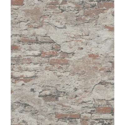 Templier Brown Distressed Brick Paper Strippable Roll (Covers 56.4 sq. ft.)