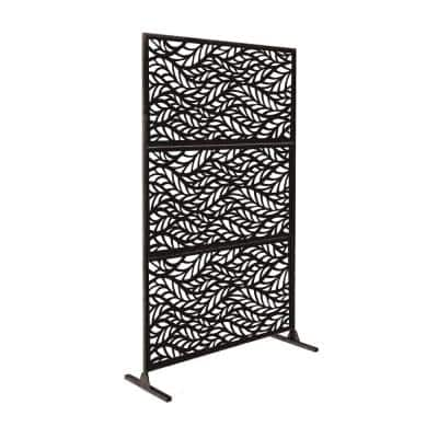 New Style MetalArt Laser Cut Metal Black BlowingLeaves Privacy Fence Screen (24 in. x 48 in. per Piece 3-Piece Combo)