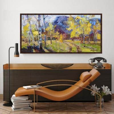 21.5 in. x 41.5 in. 'Autumn's Welcome' by Robert Moore Fine Art Canvas Framed Print Wall Art