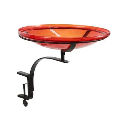 14 in. Dia Red Reflective Crackle Glass Birdbath Bowl with Rail Mount Bracket