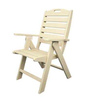 Nautical Highback Sand Plastic Outdoor Patio Dining Chair