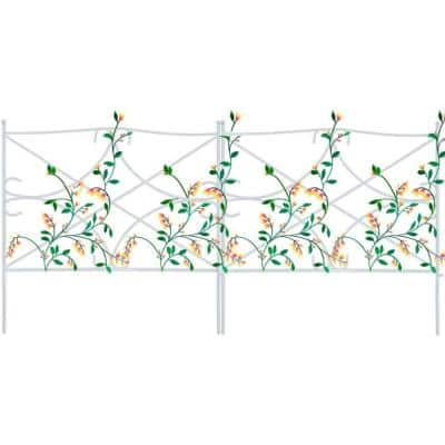 24 in. H x 24 in. L White Metal Garden Fence (7-Pack)