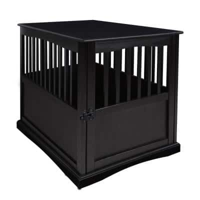 Black Pet Crate End Table with Gate - Large
