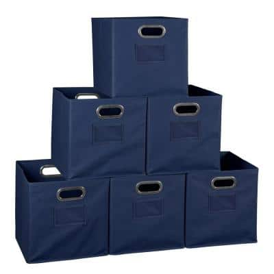 Cheer 12 in. D x  12 in. W x 12 in. H Blue Folding Fabric Bin (6-Pack)