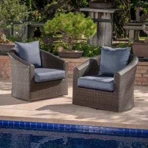 Darius Swivel Mixed Brown Wicker Outdoor Club Lounge Chair with Navy Blue Cushion (2-Pack)