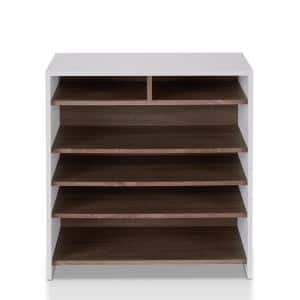 Anthony 32 in. H x 32 in. W 12-Pair Multi-Shelf Wood Shoe Storage Cabinet