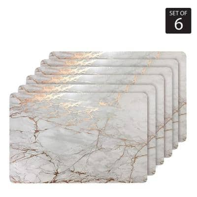 "Marble Cork 12 in. x 18"" In. Yellows and Golds Cork Rectangle Placemats Set of 6"