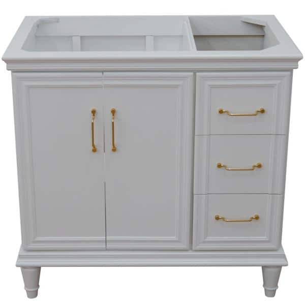Bellaterra Home 36 In W X 21 5 In D Single Bath Vanity Cabinet Only In White Cabinet Doors On Left Side 800 36l Wh The Home Depot