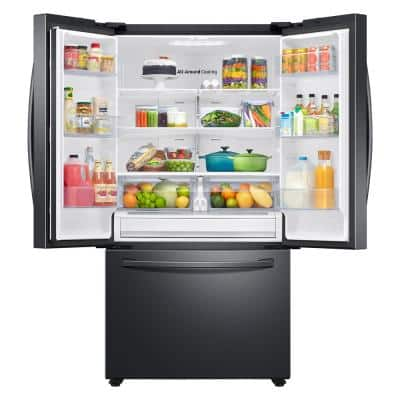 27.7 cu. ft. French Door Refrigerator in Black Stainless Steel with Family Hub