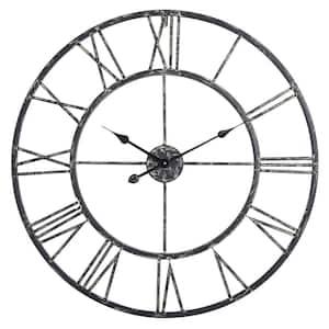 Oversized Roman Round Wall Clock, Black, 30''