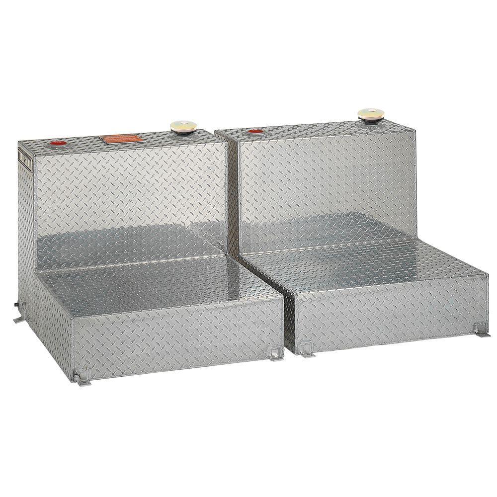 96 Gal. Aluminum L-Shaped Liquid Storage Transfer Tank, Silver