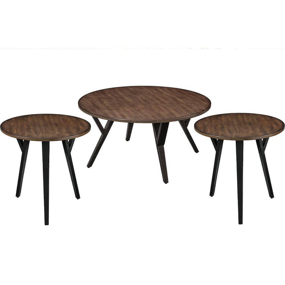 Benjara 3 Piece 36 In Brown Black Medium Round Wood Coffee Table Set Bm186962 The Home Depot