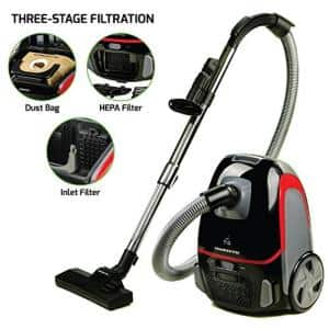 3-Stage Filtration Canister Vacuum with Hepa Filter, Energy-Saving Speed Control-1400-Watt (ST1600B)