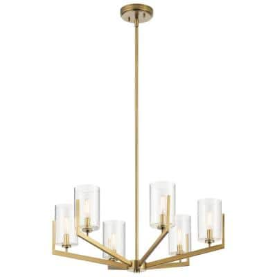 Nye 6-Light Brushed Natural Brass Chandelier with Clear Glass Shade