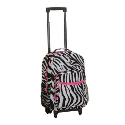 Rockland Roadster 17 in. Rolling Backpack, Pinkzebra
