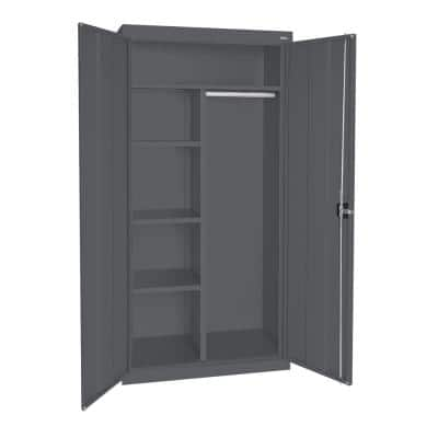 Classic Series 36 in. W x 72 in. H x 24 in. D Combination Storage Cabinet with Adjustable Shelves in Charcoal