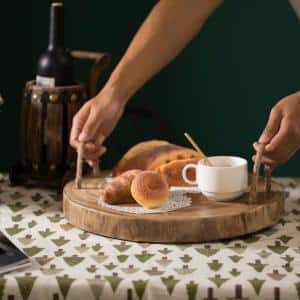 Brown Wood Round Tray Serving Platter Board with Rope Handles