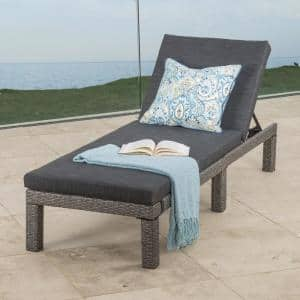 Puerta Mixed Black Wicker Outdoor Chaise Lounge with Dark gray Cushion