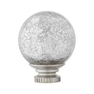 Mix and Match Mercury Glass Sphere 1 in. Curtain Rod Finial in Brushed Nickel (2-Pack)