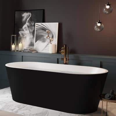 59 in. Fiberglass Double Ended Flatbottom Non-Whirlpool Bathtub in Glossy Black